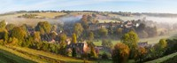 "High angle view of a village, Naunton, Cotswold Hills, Gloucestershire, England by Panoramic Images - 25"" x 9"""
