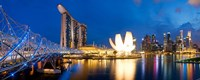 "Bridge across the river, Helix Bridge, Marina Bay Sands, Art Science Museum, Singapore City, Singapore by Panoramic Images - 22"" x 9"""
