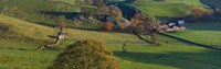"High angle view of a village in valley, Dove Dale, White Peak, Peak District National Park, Derbyshire, England by Panoramic Images - 29"" x 9"""