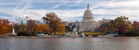 Fall view of reflecting pool and the Capitol Building, Washington DC, USA Fine Art Print