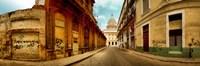"Buildings along street, El Capitolio, Havana, Cuba by Panoramic Images - 28"" x 9"""