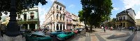 """Old cars parked outside buildings, Havana, Cuba by Panoramic Images - 31"""" x 9"""""""