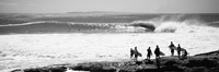 Silhouette of surfers standing on the beach, Australia (black and white) Fine Art Print