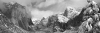 Black and white view of Mountains and waterfall in snow, El Capitan, Yosemite National Park, California Fine Art Print
