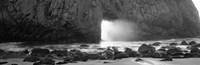 "Rock formation on the beach in black and white, Big Sur, California by Panoramic Images - 28"" x 9"""