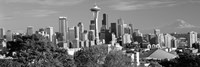 """View of city in black and white, Seattle, King County, Washington State, USA 2010 by Panoramic Images, 2010 - 27"""" x 9"""""""