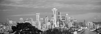 """View of Seattle and Space Needle in black and white, King County, Washington State, USA 2010 by Panoramic Images, 2010 - 26"""" x 9"""""""