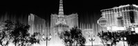 Las Vegas Hotels at Night (black & white) Framed Print