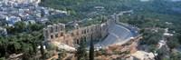 "Ode'on tu Herodu Att'ku the Acropolis Athens Greece by Panoramic Images - 36"" x 12"""