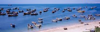 "Fishing boats at a harbor, Mui Ne, Vietnam by Panoramic Images - 37"" x 12"" - $34.99"