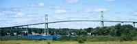 Suspension bridge across a river, Thousand Islands Bridge, St. Lawrence River, New York State, USA Fine Art Print