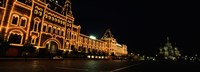 "Facade of a building lit up at night, GUM, Red Square, Moscow, Russia by Panoramic Images - 34"" x 12"", FulcrumGallery.com brand"