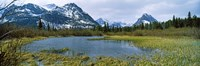 "Lake with mountains in the background, US Glacier National Park, Montana, USA by Panoramic Images - 36"" x 12"""