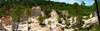 """High angle view of eroded red cliffs, Roussillon, Vaucluse, Provence-Alpes-Cote d'Azur, France by Panoramic Images - 38"""" x 12"""""""
