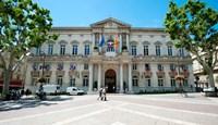 """Facade of a building, Hotel de Ville, Place de l'Horloge, Avignon, Vaucluse, Provence-Alpes-Cote d'Azur, France by Panoramic Images - 21"""" x 12"""""""