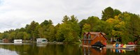 "Cottages at the lakeside, Lake Muskoka, Ontario, Canada by Panoramic Images - 30"" x 12"""