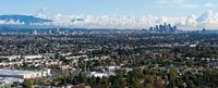 """City with mountain range in the background, Mid-Wilshire, Los Angeles, California, USA by Panoramic Images - 30"""" x 12"""""""