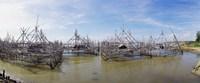 "Fishing platforms along coast of Madura Island, Indonesia by Panoramic Images - 29"" x 12"""