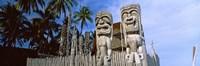 """Totem poles, Puuhonua O Honaunau National Historical Park, Hawaii, USA by Panoramic Images - 36"""" x 12"""""""