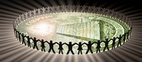 """People in circle around money by Panoramic Images - 28"""" x 12"""""""