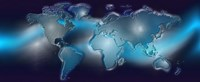 """Map of the world with blue trail by Panoramic Images - 29"""" x 12"""""""