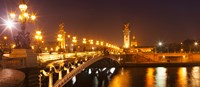 Bridge across the river at night, Pont Alexandre III, Seine River, Paris, Ile-De-France, France Fine Art Print