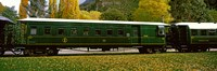 """Green Carriage of Kingston Flyer vintage steam train, Kingston, Otago Region, South Island, New Zealand by Panoramic Images - 36"""" x 12"""""""