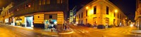 """Shops along a street at night, Lima, Peru by Panoramic Images - 46"""" x 12"""", FulcrumGallery.com brand"""