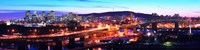 """Jacques Cartier Bridge with city lit up at dusk, Montreal, Quebec, Canada 2012 by Panoramic Images, 2012 - 48"""" x 12"""""""