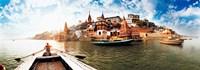 "Boats in the Ganges River, Varanasi, Uttar Pradesh, India by Panoramic Images - 34"" x 12"""