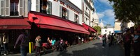 "Busy street lined with bistros, Montmarte, Paris, Ile-de-France, France by Panoramic Images - 30"" x 12"""