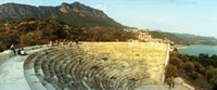 """Ancient antique theater at sunset with the Mediterranean sea in the background, Kas, Antalya Province, Turkey by Panoramic Images - 29"""" x 12"""""""