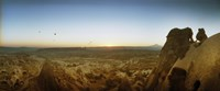 """Rock formations on a landscape at sunrise, Cappadocia, Central Anatolia Region, Turkey by Panoramic Images - 29"""" x 12"""""""