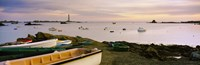 "Boats at Lilia with lighthouse in background on Iles Vierge, Brittany, France by Panoramic Images - 37"" x 12"""