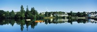 """View of a lake with a town in the background, Huelgoat, Finistere, Brittany, France by Panoramic Images - 36"""" x 12"""", FulcrumGallery.com brand"""