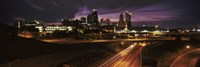 "Skyscrapers lit up at night in a city, Kansas City, Jackson County, Missouri, USA 2012 by Panoramic Images, 2012 - 36"" x 12"", FulcrumGallery.com brand"
