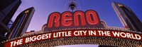 Low angle view of the Reno Arch at dusk, Virginia Street, Reno, Nevada, USA by Panoramic Images - various sizes