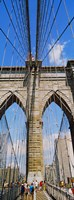 """People at a suspension bridge, Brooklyn Bridge, New York City, New York State, USA by Panoramic Images - 12"""" x 33"""""""