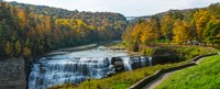 """Middle Falls in autumn, Letchworth State Park, New York State by Panoramic Images - 30"""" x 12"""""""