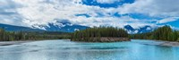 Clouds over mountains, Athabasca River, Icefields Parkway, Jasper National Park, Alberta, Canada Fine Art Print