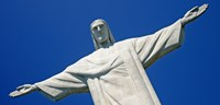 Low angle view of the Christ The Redeemer, Corcovado, Rio De Janeiro, Brazil Fine Art Print