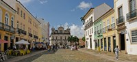 Sidewalk cafes on a street in Pelourinho, Salvador, Bahia, Brazil Fine Art Print