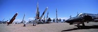 """Missile and military plane at a museum, White Sands Missile Range Museum, Alamogordo, New Mexico, USA by Panoramic Images - 36"""" x 12"""""""