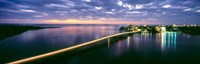 """Estero Boulevard at night, Fort Myers Beach, Estero Island, Lee County, Florida, USA by Panoramic Images - 38"""" x 12"""", FulcrumGallery.com brand"""