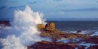 "Waves crashing on rocks at wild coast, Saint-Guenole, Morbihan, Brittany, France by Panoramic Images - 24"" x 12"""