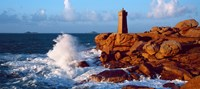 """Waves crashing at Ploumanac'h Lighthouse, Pink Granite Coast, Perros-Guirec, Cotes-d'Armor, Brittany, France by Panoramic Images - 27"""" x 12"""""""