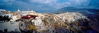 """Buildings along rugged hillside, Santorini, Greece by Panoramic Images - 36"""" x 12"""""""