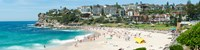 """Houses on the coast, Bronte Beach, Sydney, New South Wales, Australia by Panoramic Images - 48"""" x 12"""""""