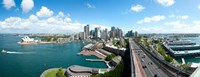 """Opera house with city skyline, Sydney Opera House, Sydney, New South Wales, Australia 2012 by Panoramic Images, 2012 - 31"""" x 12"""", FulcrumGallery.com brand"""