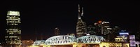 """Skylines and Shelby Street Bridge at night, Nashville, Tennessee by Panoramic Images - 36"""" x 12"""", FulcrumGallery.com brand"""
